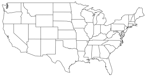 Contiguous USA map