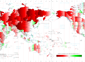 How much is time wrong around the world?