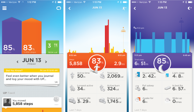 Jawbone screenshots