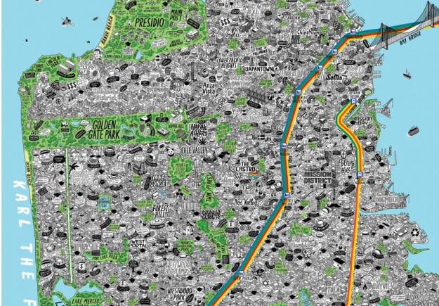 Hand-drawn San Francisco map