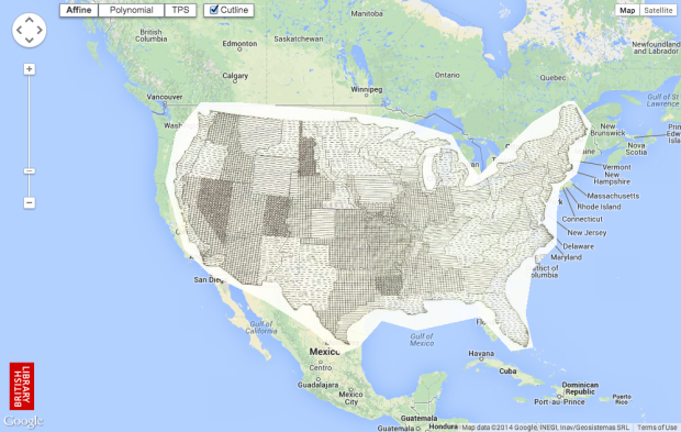Old maps overlaid on Google Maps