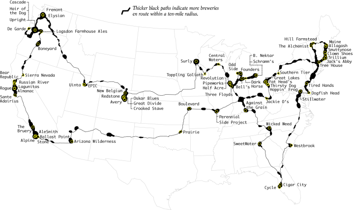 Top Brewery Road Trip, Routed Algorithmically
