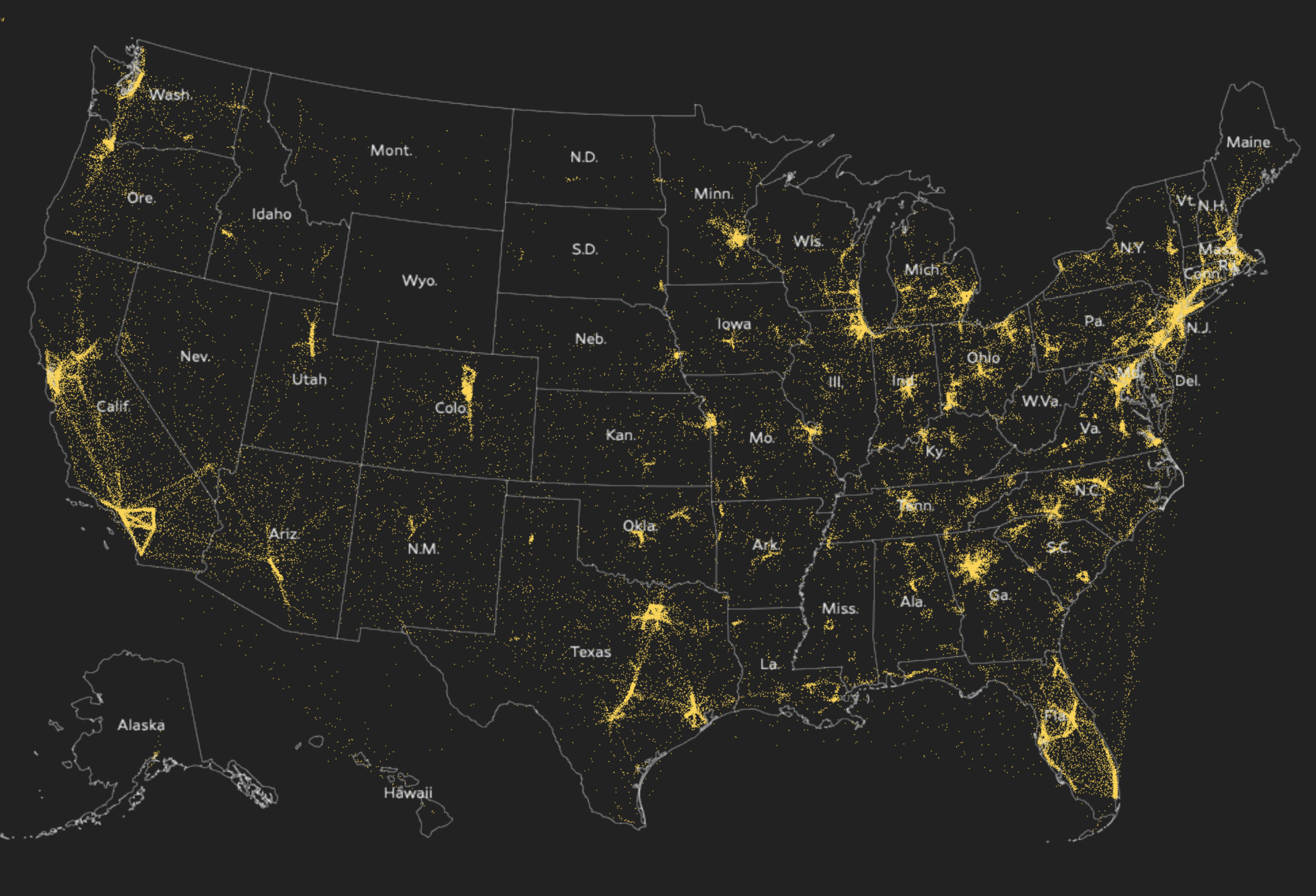 Map of people moving during pandemic